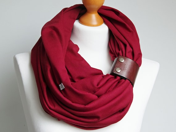 BURGUND Infinity scarf for women, lightweight cotton tube scarf with leather cuff, maroon infinity scarf, gift ideas for friend Christmas