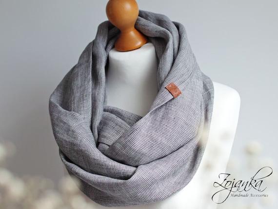 Linen infinity scarf tube scarf, lightweight fashion scarf, spring fashion scarf, eco style, baltic linen scarf, european scarf, plaid gray