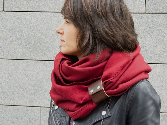 BURGUNDY Infinity Scarf with leather cuff, tube scarf with cuff,  infinity scarves, maroon scarf, hooded  scarf, scarf with strap ZOJANKA