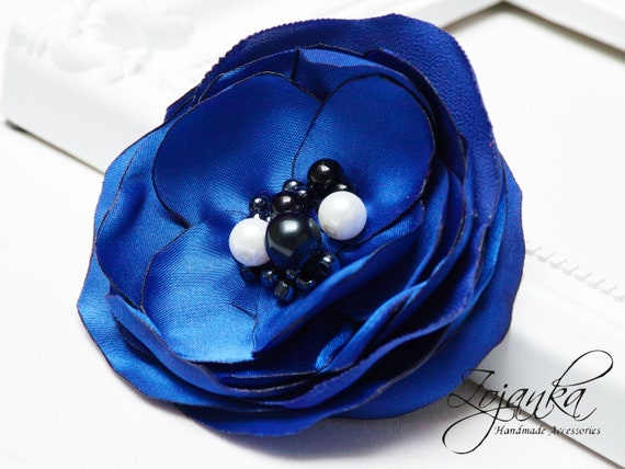 Fabric flower BROOCH for women, Pin Petal Flower Pin Organza handmade pin, blue floral brooch corsage, textile accessories