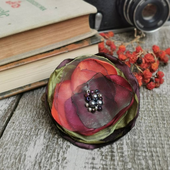 Textile fabric flower BROOCH for women, Pin Petal Flower Pin Organza handmade pin, floral brooch corsage, textile accessories