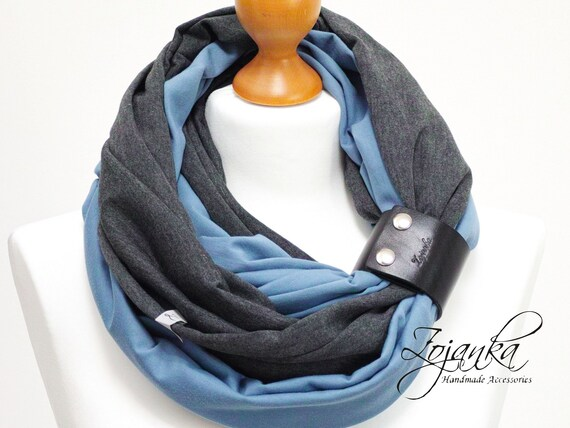 Infinity scarf with leather cuff, infinity scarves by ZOJANKA, cotton lightweight infinity scarf, spring scarves, casual scarf, BLUE scarf