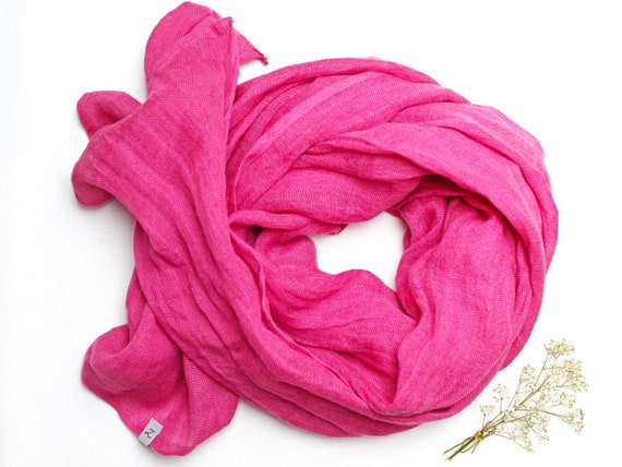 Soft linen scarf in pink, natural scarf SHAWL for women, pure linen, linen travel wrap, natural scarf, eco fashion, pink shawl wrap