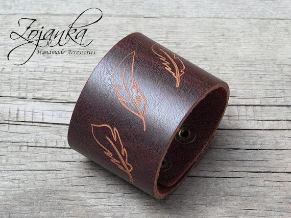 BROWN leather band cuff bracelet, tattoo cover up, boho style leather cuff, bracelet for women, fashion accessories, cuff with pattern