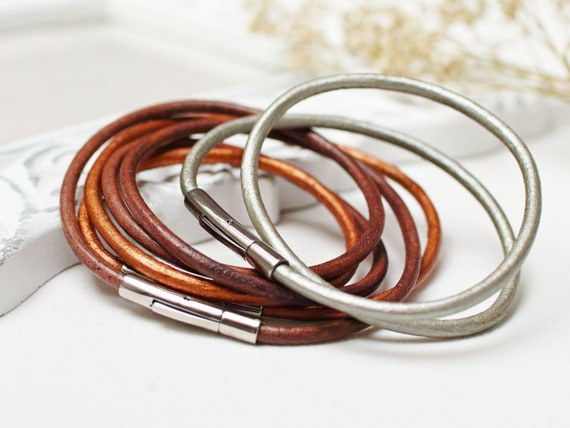 Autumn Leather bracelets SET of 3, leather cord bracelets, boho style leather cuff, women bracelet set of three, bangles, stacking bracelets