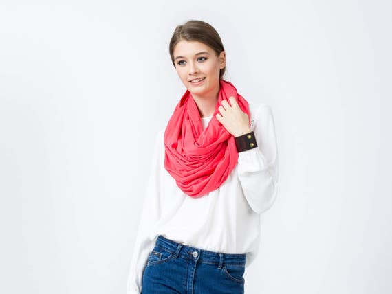 Oversized Infinity Scarf, CORAL red infinity scarf, large infinity scarf, hooded scarf,  large cotton Infinity scarf, gift ideas for her