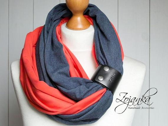 COTTON infinity scarf with leather cuff, autumn infinity scarves for women, fashion scarf, cotton jersey, ZOJANKA