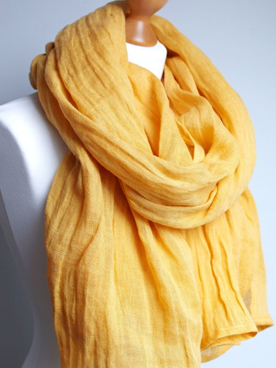 Soft linen scarf in honey yellow, natural scarf SHAWL for women, pure linen, linen travel wrap, natural scarf, eco fashion