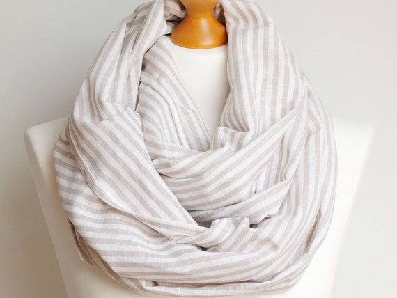 Linen infinity scarf tube scarf, lightweight striped scarf, spring scarf, eco style, baltic linen scarf, european scarf, beige linen scarf