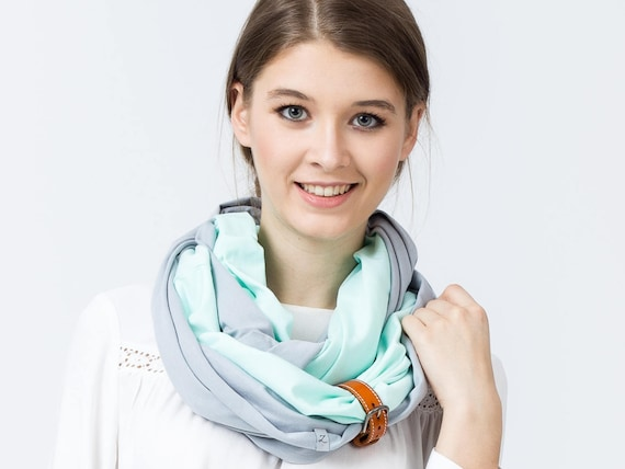 COTTON infinity scarf with leather cuff, infinity scarves, fashion scarf, cotton jersey, spring cotton scarf with strap, spring accessories