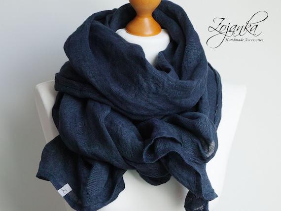 SOFT linen scarf navy blue,  linen lightweight scarf SHAWL wrap women,natural linen  eco  scarf fashion, linen accessories women