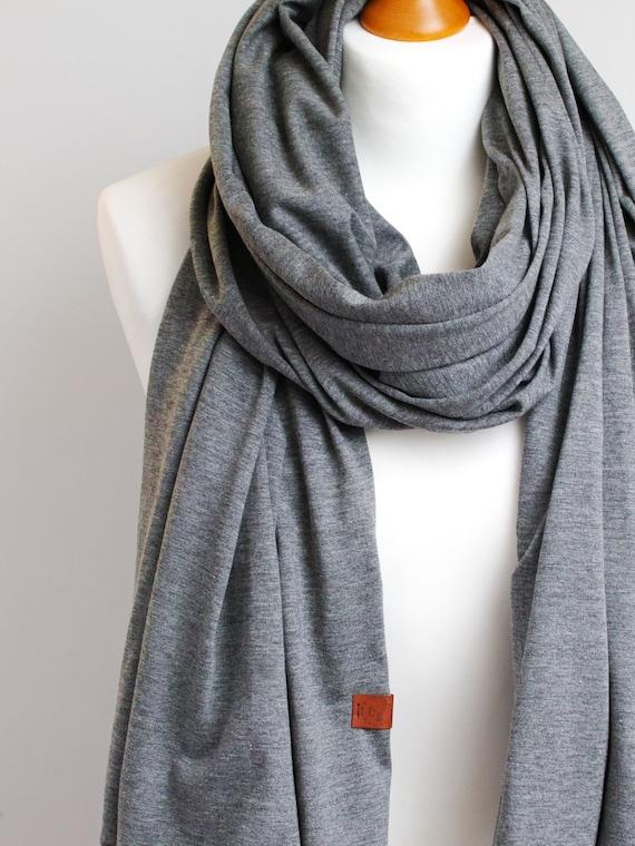 Cotton shawl wrap for women, gray jersey scarf, women scarf, spring autumn scarf, eco friendly scarf shawl wrap, cotton shawl travel wrap