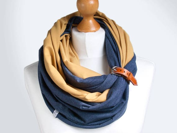 Infinity scarf with leather cuff, infinity scarves, lightweight scarf made of two scarves, honey yellow and jeans, scarf with cuff