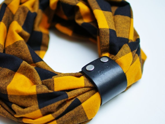 Plaid flannel infinity scarf for autumn, fashion infinity circle scarf with leather cuff, plaid autumn scarf in honey yellow color