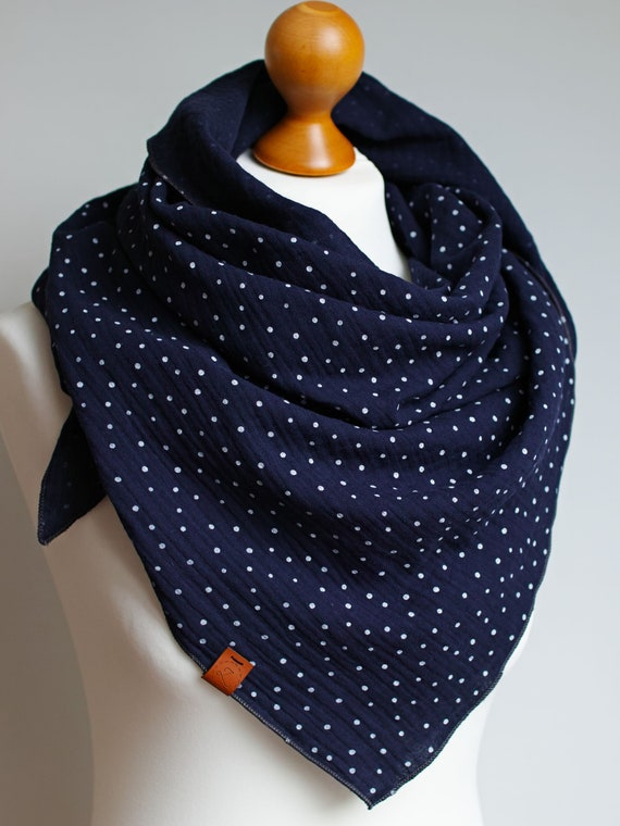 Cotton muslin women scarf shawl, cotton triangle scarf  - soft spring scarf shawl scarf for women, cotton shawl wrap