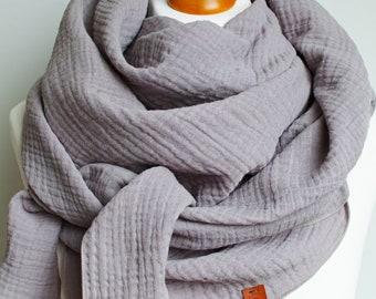 Cotton muslin women scarf shawl, cotton triangle scarf  - soft scarf - scarf for women, GRAY soft cotton scarf