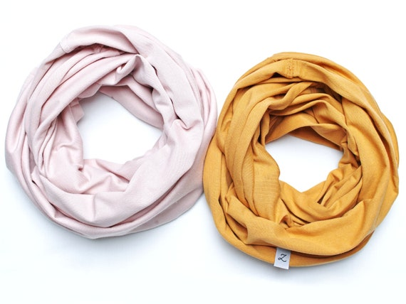SET of two cotton KIDS SCARFS,  Loop scarf for 3-7 years old girls, cotton accessories for kids, gift