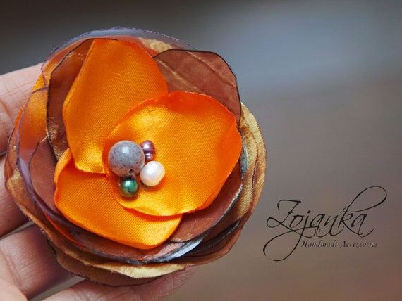 ORANGE Flower BROOCH Pin for dress, small gift ideas for her - flower Pin Organza Satin handmade, floral brooch corsage