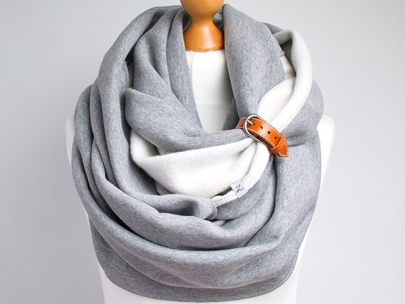 CHUNKY Infinity Scarf COWL with leather strap, gift for her, extra chunky snood, high street fashion infinity scarf, cozy SNOOD, xmas gift