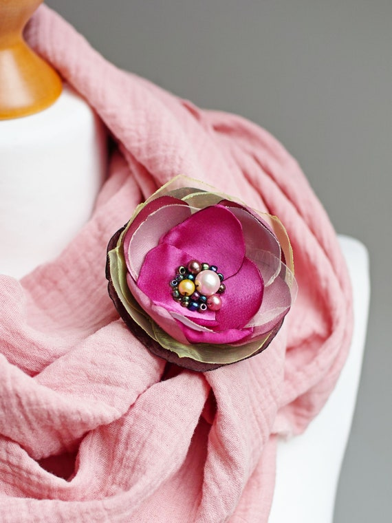 PINK Flower Pin brooch for (dress) handmade fabric floral brooch, women accessories, flower pin button for dresses