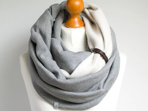 CHUNKY infinity scarf with leather cuff, fashion infinity scarf, cozy SNOOD, hooded scarf, gift ideas, gift for her, infinity scarf