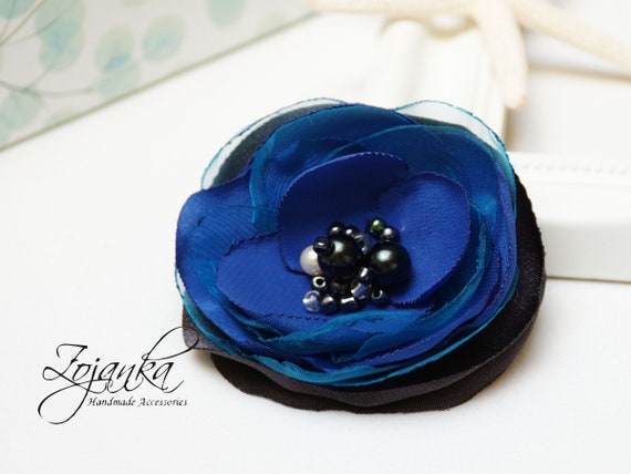 Fabric flower BROOCH Pin Petal Flower Pin Organza handmade pin, navy blue floral brooch corsage, elegant flower brooches, gift ideas for her