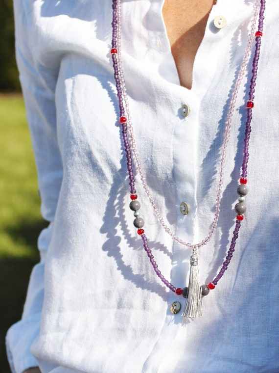 LONG beaded necklace for women, statement necklace, long necklace with tassel, women necklaces