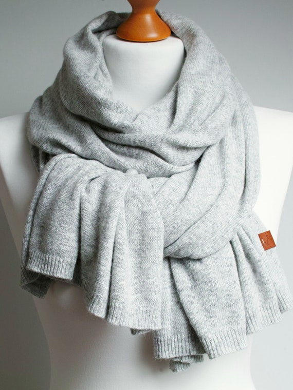 Wool scarf, light gray scarf for women, WINTER fashion, warm wool women scarf, winter fashion accessories, wool scarf, shawl wrap women