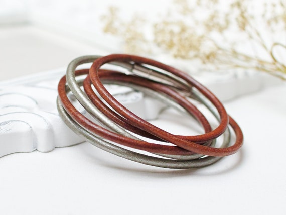 Leather bracelets SET of 2, leather cord bracelets, boho style leather cuff, women bracelet set of two, bangles, stacking bracelets