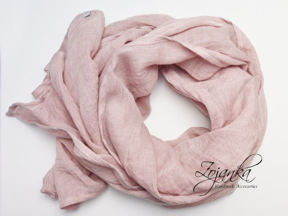 Soft linen scarf, natural scarf, SHAWL, pure linen, linen scarf, natural scarf, eco fashion, gift for her, dusty pink peony SHAWL