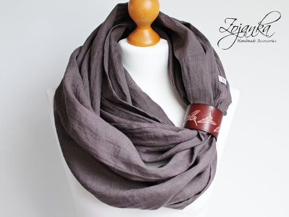 TAUPE LINEN Infinity Scarf tube scarf with cuff, pure linen scarf, TAUPE infinity wrap, travel scarf, autumn scarf fashion