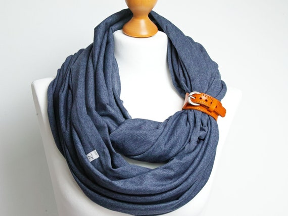 LARGE infinity scarf with leather strap, women infinity scarves by ZOJANKA, cotton infinity jersey with belt, cotton scarf wrap, tube scarf