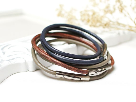 Women leather cord bracelets - SET of 3 bracelets for women, leather cord bracelets, boho style leather bracelet stacking bracelets