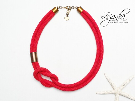 Women rope necklace - statement necklace - textile necklace - cotton rope necklace for women - simple jewelry - women accessories