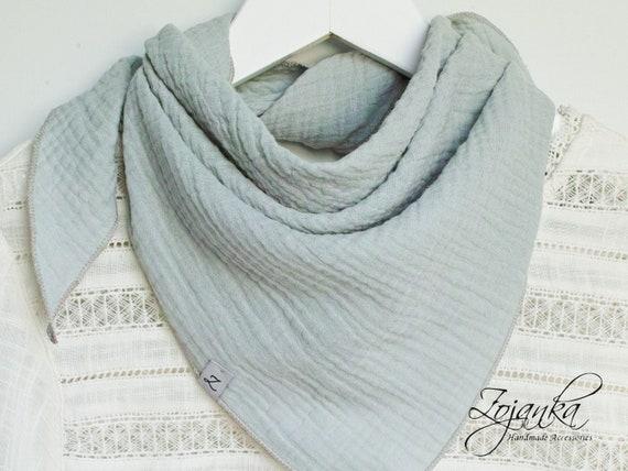 MINT Cotton muslin neck scarf bandana face mask, cotton bandana triangle scarf  - soft neck scarf - soft bandana scarf for women