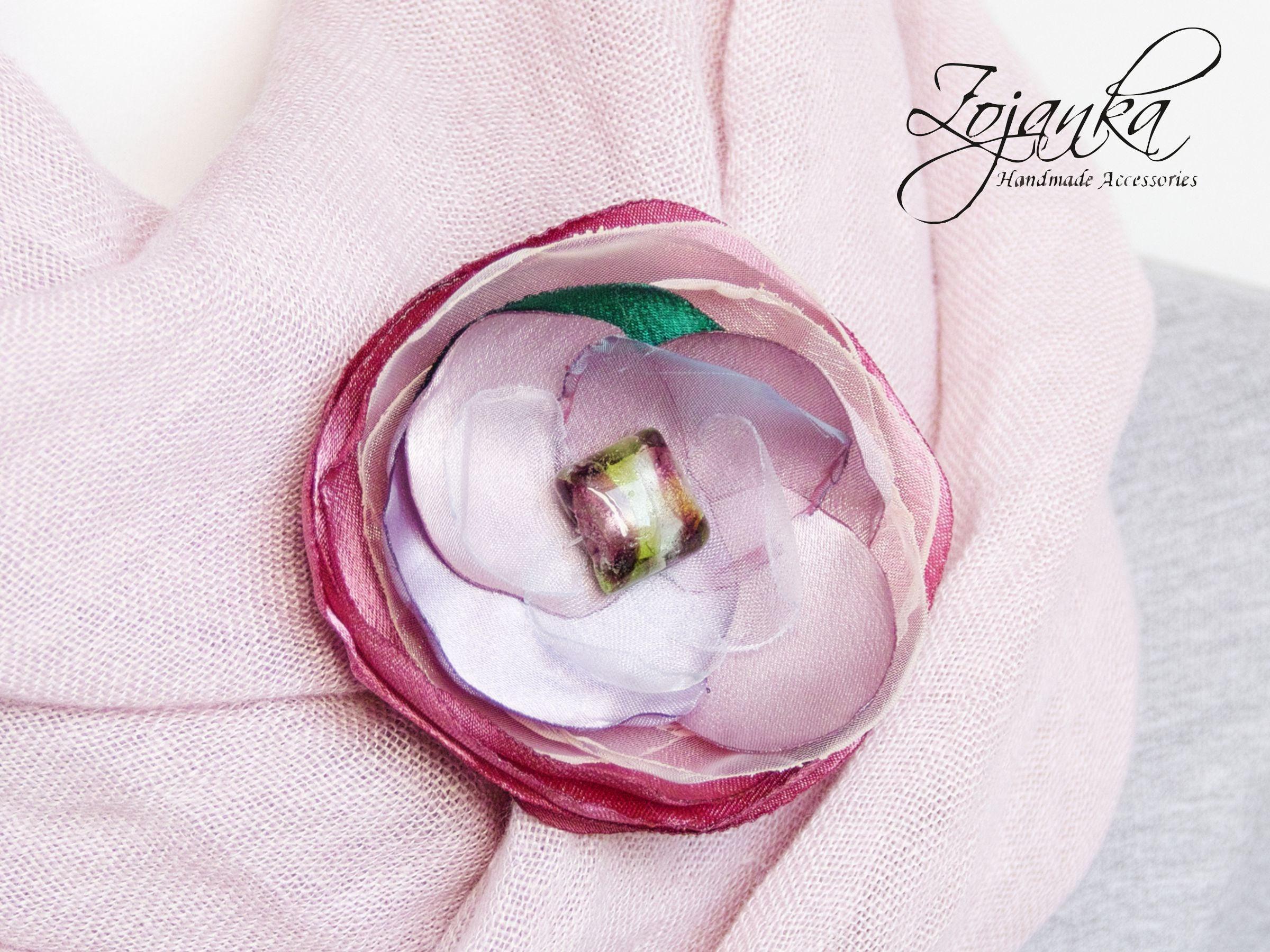 Fabric Flower Brooch Pin Petal Flower Pin Organza Satin Handmade