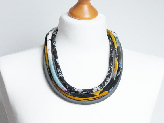 COLORFUL necklace, textile necklace, fabric jewelry, fashion gift ideas, simple jewelry, women accessories, spring summer necklaces