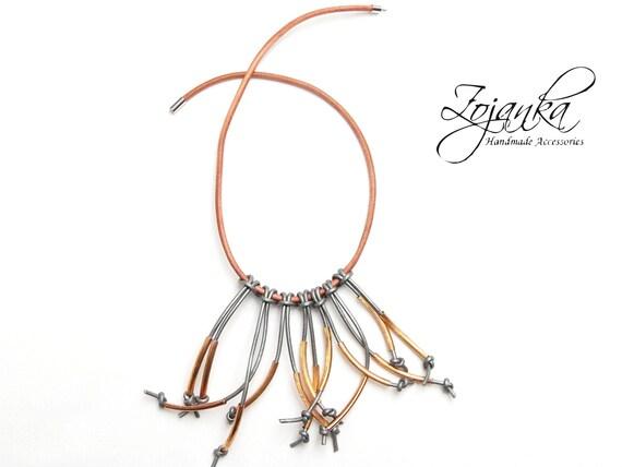 Women necklace, statement necklace, gift idea, leather cord necklace, gift for her, simple necklace, statement necklaces, modern necklace