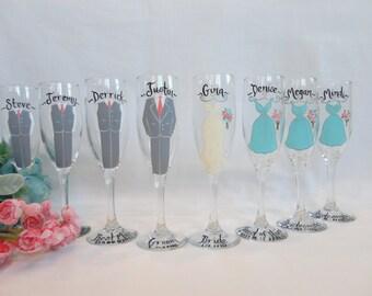 EXACT DRESS REPLICA Bridal Champagne Flutes, Hand Painted Bridesmaid Wine Glasses, Bridesmaid Champagne Glasses, Personalized Bridal Gifts