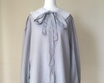 Sailor Shirt Nautical Blouse 80s Shirt White Sailor Collar Top Long Sleeve Top Sheer Shirt Sailboat 1980s Collared Large