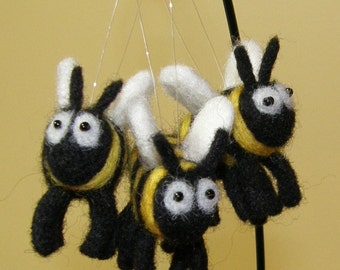 Needle Felted Wool Buzzy Bee Ornaments