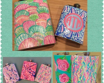 Lilly Pulitzer inspired hand painted metal flasks.