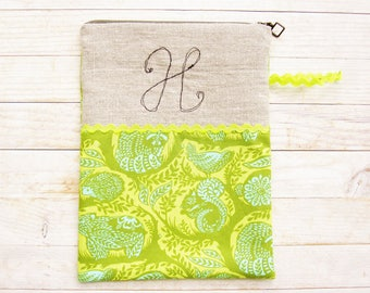 Cosmetic bag pencil case carry-all zipper pouch monogram H initial personalized wallet squirrel bird bear rabbit green blue cotton linen