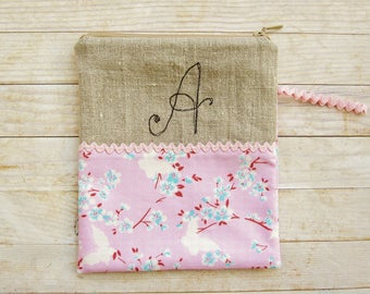 Cosmetic bag pencil case carry-all zipper pouch monogram A initial personalized butterfly cherry blossom pink blue linen Mother's Day gift