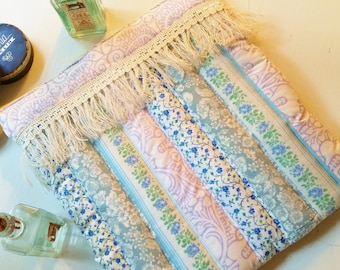 Tablet case IPad digital device reader cosmetic zipper pouch bag sleeve cover soft padded quilted Shabby chic fringe blue violet boho gift