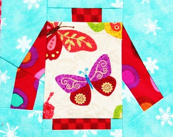 Ugly Christmas Sweater Quilt Block Pattern PDF Instant Download Modern Patchwork Pullover Mini Scrappy Paper Pieced Advanced Holiday Gift