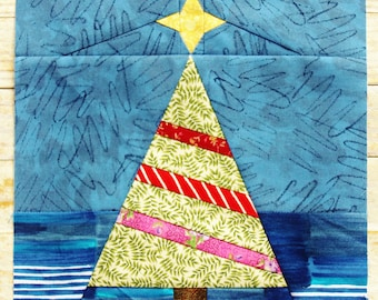 Christmas Tree And Star Quilt Block Pattern PDF Instant Download Modern Patchwork Holiday Winter Decor Mini Scrappy Paper Pieced Advanced