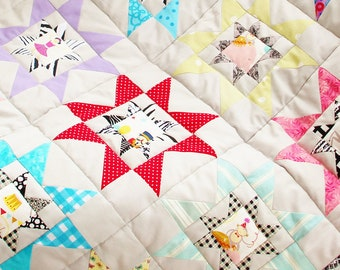 Quilt baby crib circus star patchwork bedding blanket gray red yellow green black pink blue purple horse lion strongman nursery baby shower
