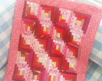 Quilt baby patchwork newborn doll mini crib bedding pram blanket infant red pink yellow wall hanging nursery decor topper baby shower gift