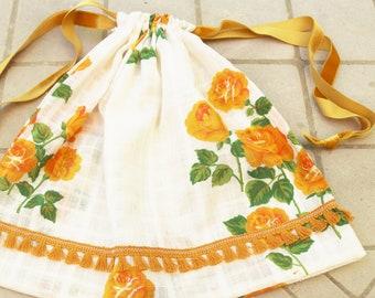 Laundry bag drawstring shoe bag gym bag baby shower gift bag nursery bag gift pouch roses orange green white vintage cotton fringe ribbon